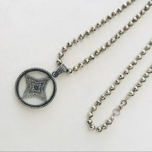 Jewelry - Pave Diamond Pendant on Silver Pyrite Chain